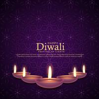 Ilustración de diya ardiente para celebración de festival de diwali