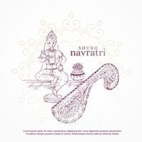 shubh navratri festival design mit göttin und kalash