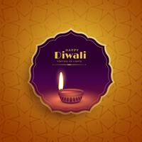 Premium Diwali Festival Gruß Hintergrund mit Diya Lampe