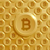 background made with bitcoins pattern