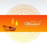 Fondo festival diwali con lámpara diya y decoración de mandala.