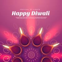 mooie diwali illustratie met brandende diya lamp