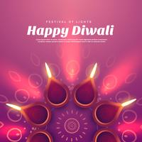belle illustration de diwali avec lampe diya allumée