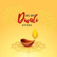 Fondo de saludo festival de diwali diya lámpara