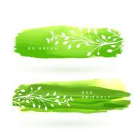 banner de folha feita com aquarela verde
