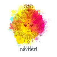glückliche navratri Abbildung mit Maa Durga Gesicht auf Aquarellba