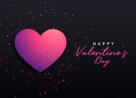 fundo preto com coração rosa e brilhos