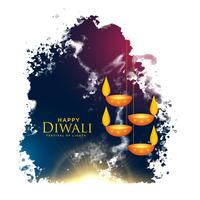 aquarelle splash avec suspension diwali lampes vector background