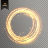 Efecto de luz transparente con destellos dorados circulares.