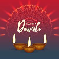 glänzender Diwali-Festivalgrußhintergrund mit Mandala decoratio