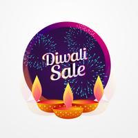 Diseño de cartel de venta de festival de diwali con diya y fuegos artificiales