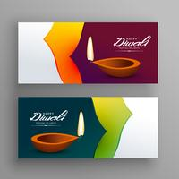 banners voor Diwali Indiase festival groet