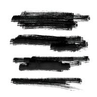 set of black paint brush stroke vector background
