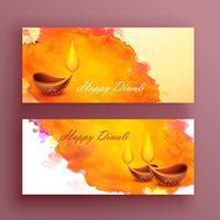 Tarjeta de banners de diwali con efecto diya y acuarela.