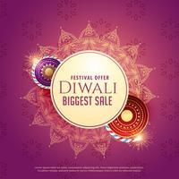 Diya-Verkaufshintergrund mit Crackern und Mandala-Dekoration