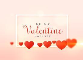 Valentijnsdag kaart ontwerp met harten achtergrond