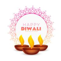 elegant happy diwali festival background with mandala decoration