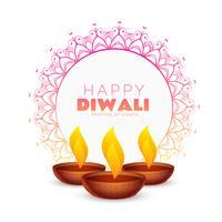 Elegante fondo de festival diwali feliz con decoración de mandala