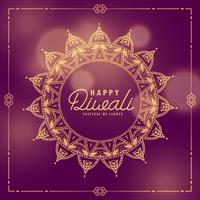 saludo étnico del festival indio feliz diwali con mandala decora