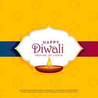 Diseño de tarjeta de felicitación feliz diwali amarillo con diya
