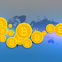 carte du monde avec symboles bitcoins flottants