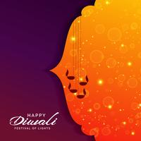 Saludo festivo para diwali con lámparas diya colgantes.