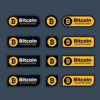 bitcoins cryptocurrency buttons or labels set