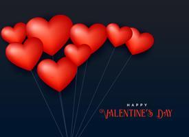 3d hjärta ballong flytande i luften, valentins dag bakgrund