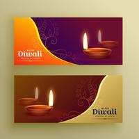 diwali festival banners card with diya and floral elements