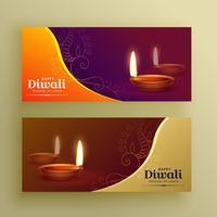 diwali festival banners kaart met diya en florale elementen