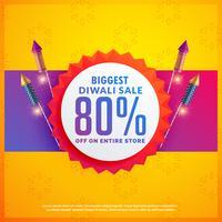 Festivalrabatt und Verkaufsbanner für Diwali mit Crackern