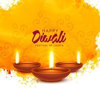 fond de vecteur de diwali heureux avec aquarelle orange