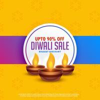Fondo de venta festival diwali con tres lámparas diya