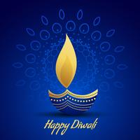 happy diwali festival greeting with decorative diya lamp on blue