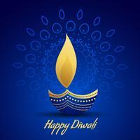 gelukkige diwali festival groet met decoratieve diya lamp op blauw