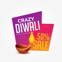 Diwali Sale bietet Rabatt-Label-Design mit brennenden Diya
