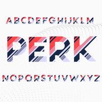 Alfabeto fuente en rayas diagonales de colores