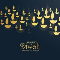 diwali greeting card design with floating golden diya