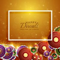 vector happy diwali background with festival crackers
