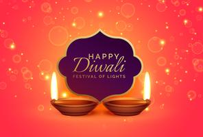 happy diwali design background with sparkles and diya