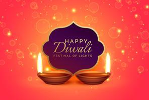 Fondo de diseño feliz diwali con destellos y diya
