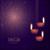 diwali lamp diya met florale achtergrond overhandigen