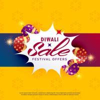 helles diwali Verkaufs- und Rabattplakatdesign mit Crackern