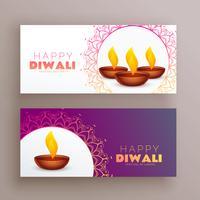 elegante diwali festival banners cartão conjunto fundo