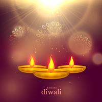 glanzende diwali festival groet achtergrond met gouden diya en l