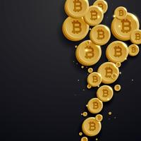 digital bitcoins currency golden coin on dark background