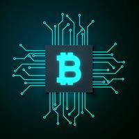 fundo de vetor de bitcoin de estilo de tecnologia