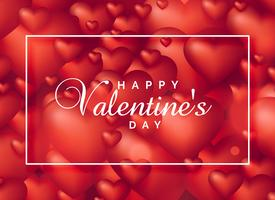 bakgrund av röda 3d hjärtan för valentins dag