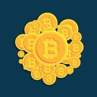 crypto bitcoins monnaie numérique pièces vectorielles fond