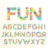 Fuentes coloridas y letras del alfabeto, mejores para diversión celebración sty